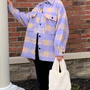 purple yellow plaid shacket